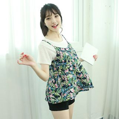 Dodostyle - Floral Patterned Tie-Back Sleeveless Top