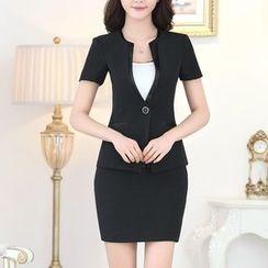 Caroe - Set: Short-Sleeve Blazer + Pencil Skirt
