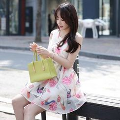 Angel Shine - Sleeveless Floral Pleated Dress