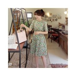 LEELIN - Short-Sleeve Floral A-Line Dress