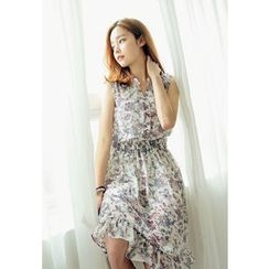REDOPIN - Sleeveless Floral Print Dress