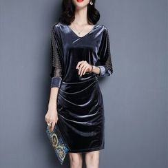lilygirl - V領植毛絨塑身連衣裙