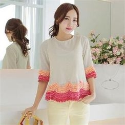 SUVINSHOP - Elbow-Sleeve Fringed Top