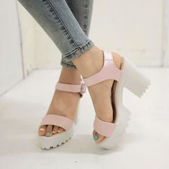 Pastel Pairs - 粗跟厚底凉鞋