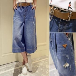 Small Mosquitoes - Distressed Capri Wide-Leg Jeans