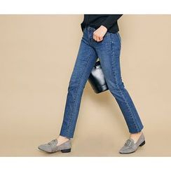 HOTPING - Fleece-Lined Straight-Cut Jeans