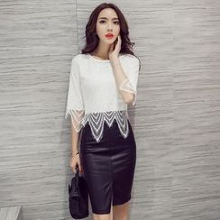 Clospace - Set: 3/4-Sleeve Lace Top + Faux Leather Pencil Skirt