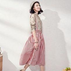 Sam's Tree - Suspender Stripe Midi Skirt