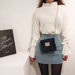 DABAGIRL - Mock-Neck Beribboned-Sleeve Sweater