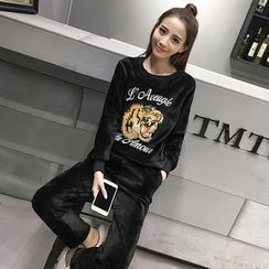 lilygirl - Set: Tiger Embroidered Velvet Pullover + Pants