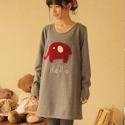 Moriville - Elephant Applique Long T-Shirt