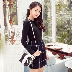 Tokyo Fashion - Long-Sleeve Check Panel Dress