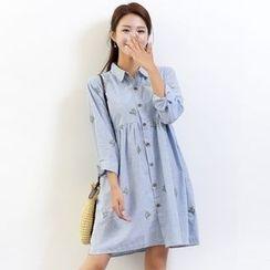 Waypoints - Embroidered Pinstripe Shirtdress
