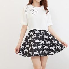 Ringnor - Set: Cat-Print Top + Patterned Skirt