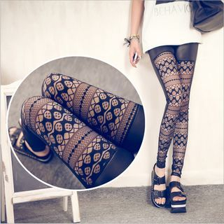 Kally Kay - Lace Panel Faux Leather Leggings