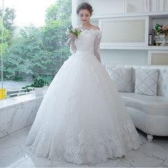 MSSBridal - Lace Trim Off Shoulder Wedding Ball Gown