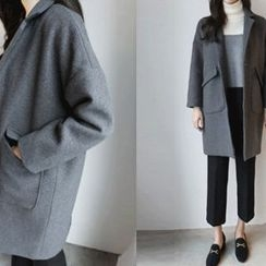 Hello sweety - Single-Breasted Wool Blend Coat