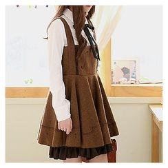 Sechuna - Embroidered Ruffle-Hem Mini Jumper Dress