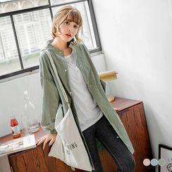 OrangeBear - 素色高含棉澎澎縮口袖中長版立領風衣外套