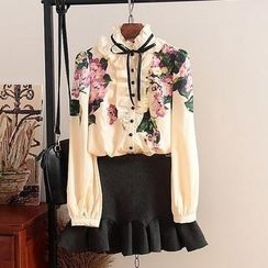 SIDO FASHION - Set: Ruffled Floral Blouse + Ruffled Skirt