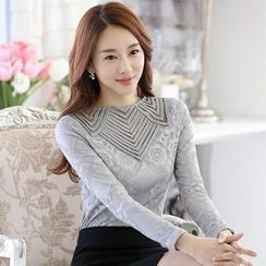 Sienne - Lace Panel Long-Sleeve Top