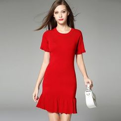 Y:Q - Ruffle Trim Short-Sleeve Dress