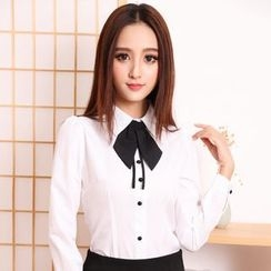 Eferu - Tie Neck Chiffon Dress Shirt