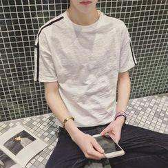 ZZP HOMME - Stripe Trim Short-Sleeve T-Shirt