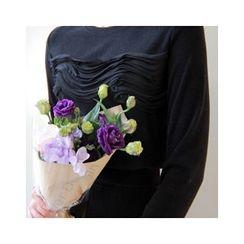 LEELIN - Round-Neck Lace-Detail T-Shirt