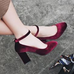 JY Shoes - Velvet Block Heel Pumps