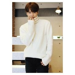 HOTBOOM - Wool Blend Turtleneck Knit Sweater