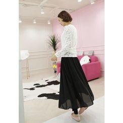 Lemite - Inset Chiffon Long Skirt Leggings