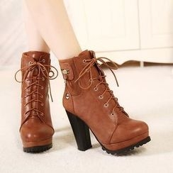 Mancienne - Lace-Up Paneled Stiletto Ankle Boots