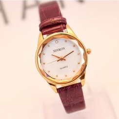 Tiamo - Rhinestone Faux Leather Strap Watch