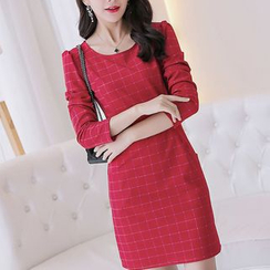 Q.C.T - Long-Sleeve Plaid Sheath Dress