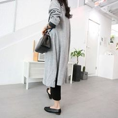MARSHMALLOW - Open-Front Slit-Side Maxi Cardigan
