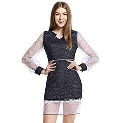 O.SA - Long-Sleeve Dotted Sheer-Sleeve Dress