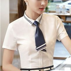 Eferu - Short Sleeve Chiffon Shirt with Neck Tie