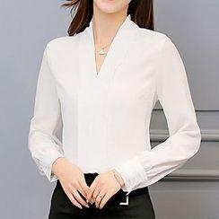 Q.C.T - V领雪纺衬衫