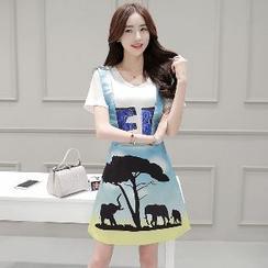 Romantica - Set: Short-Sleeve Sequined Top + Printed Jumper Skirt