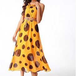 GRACI - Polka Dot Sleeveless Chiffon Dress