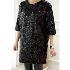 Lemite - Elbow-Sleeve Glittered Shift Dress
