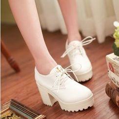 Freesia - Lace-Up Chunky Heel Platform Shoes