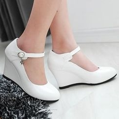 Sidewalk - Strapped Wedge Pumps