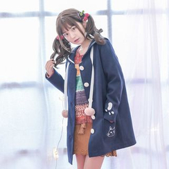 Angel Love - Cat Embroidered Pom-Pom Coat