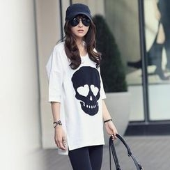 REDOPIN - Drop-Shoulder Skull Print T-Shirt