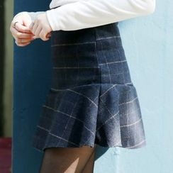 Envy Look - Wool Blend Check A-Line Mini Skirt