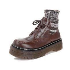 Mancienne - Platform Paneled Lace-Up Ankle Boots
