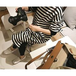 MARSHMALLOW - Maternity Slit-Side Striped Maxi Dress