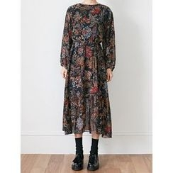 FROMBEGINNING - Floral A-Line Long Dress with Sash